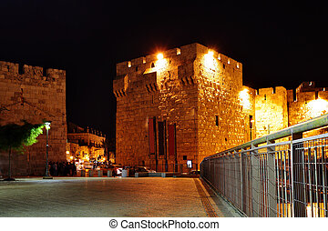 Yafo gate at night. Old city, Jerusalem, Israel