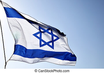 Flag of Israel on the wind close-up