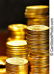 Gold coins - Stacks of the gold coins close up