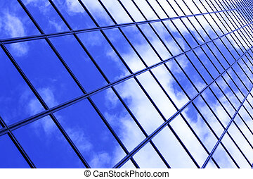 Abstract architectural background - Glass wall of business...