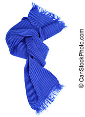 Blie woolen scarf isolated over white background