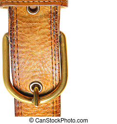 Buckle - Leather strap close-up isolated over white...