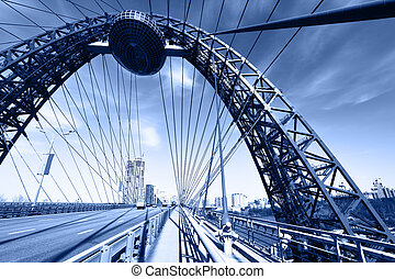 Bridge - Modern suspension bridge toned in blue color Moscow...