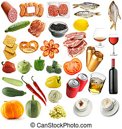 Food - Variety food isolated over a white background