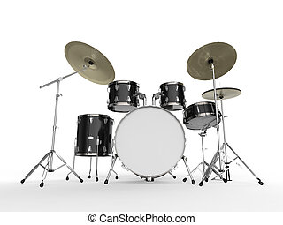 Drum Kit isolated on white background 3D render
