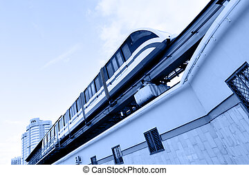 Monorail train - High speed monorail train on the overpass