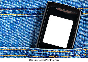 Cellular in jeans pocket - Cellular phone in jeans pocket,...