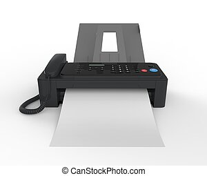 Fax Machine with Paper - Fax Machine with Paper isolated on...