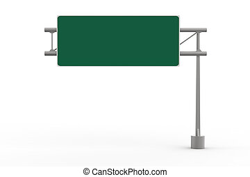 Green Blank Freeway Sign isolated on white background 3D...