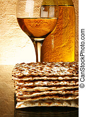 Wine and matzoh - Still-life with wine and matzoh (jewish...