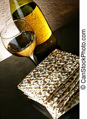 Wine and matzoh - Still-life with wine and matzoh jewish...