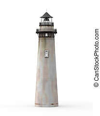 Lighthouse isolated on white background 3d render