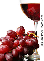 Red wine and grapes - Two glasses of red wine and grapes...