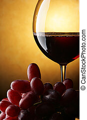 Still life with red wine - Still life with bunch of grapes...