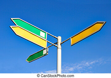 Signpost with four direction arrow with blank space for your...