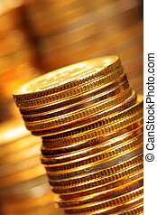 Gold coins - Stack of gold coins close up
