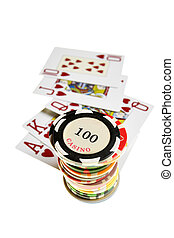Casino chips and playing cards isolated over white...