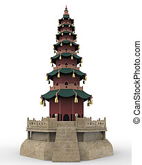 Pagoda Tower isolated on white background 3d render
