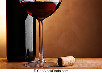Wine bottle, cork and glass - Still-life with wine bottle,...