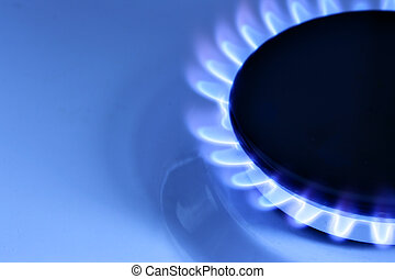 Gas - Blue gas flame on hob and space for text on left