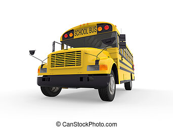 School Bus Isolated on White Background. 3d render