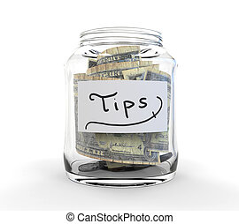 Clear Glass Jar for Tips with Coins and Bills isolated on...