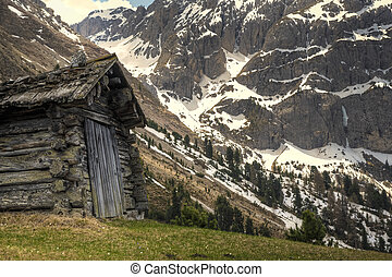 Mountain hut - Hut in the Dolomite mountains of northern...