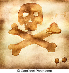 Jolly roger - Old paper with print of crossed bones and...