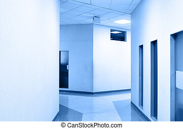 Office corridor - Perspective of the corridor at modern...