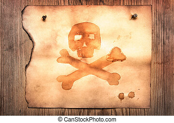Old paper with jolly roger attached to wooden wall
