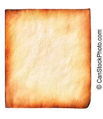 Old yellow paper, isolated over white background