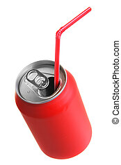 Red can with straw