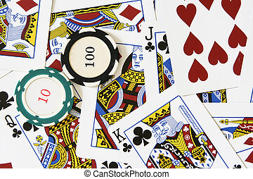 Cards and gambling chips - Playing cards and gambling chips...