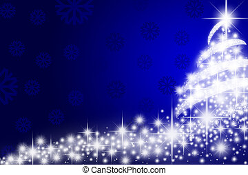 Christmas tree over blue background with snowflakes