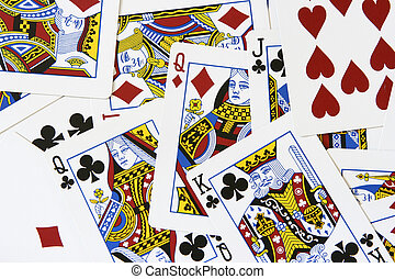 Playing cards close-up, bay be used as background