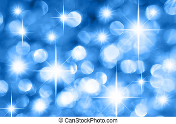 Blue Christmas background - Blue holiday illumination out of...