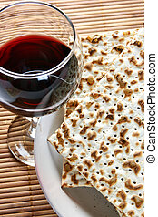 Seder - Wine and matzoh - elements of jewish passover supper