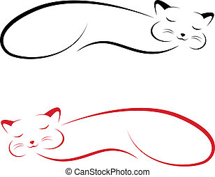 Vector image of an cat on white background
