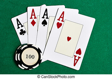 Playing cards and casino chips - Casino chips and four aces...
