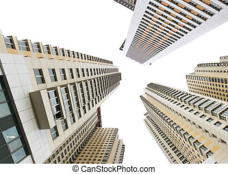 Buildings - Modern apartment buildings isolated over white...