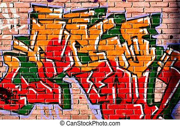 Graffiti - Urban graffiti over bricks wall close-up