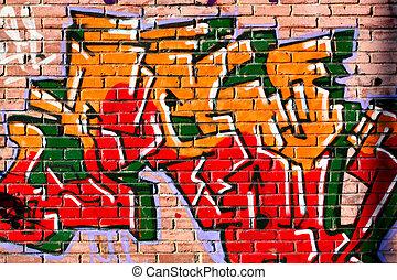 Graffiti - Urban graffiti over bricks wall close-up
