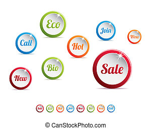 Set of Modern Colored Web Buttons
