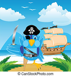 Bird pirate ashore tropical island - Illustration of the...