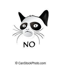 Cat says NO - Cartoon cat - social character