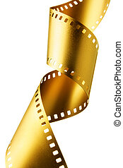 Gold film strip - Gold 35 mm film strip isolated over white...
