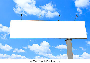 Blank long billboard over blue sky, put your own text here