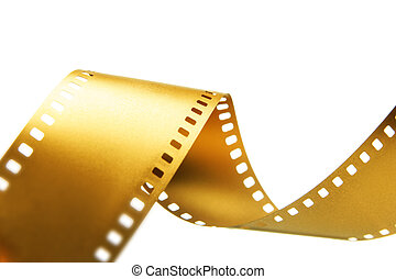 Gold 35 mm film isolated over white background