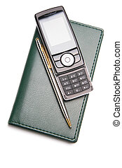 Cellular phone on leather organizer