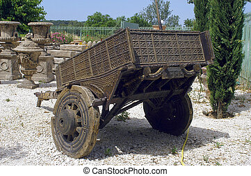 a cart for the decoration of garden